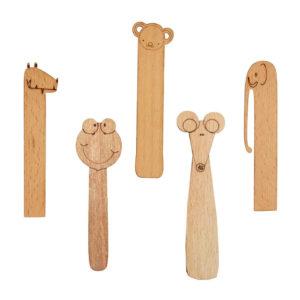 نشانه کتاب چوبی کودکانه طرح آدمک نشانک
